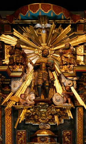 MIssion San Fernando altarpiece - Photo by Alexander Harte, Photoshop by Cynthia Kirkeby
