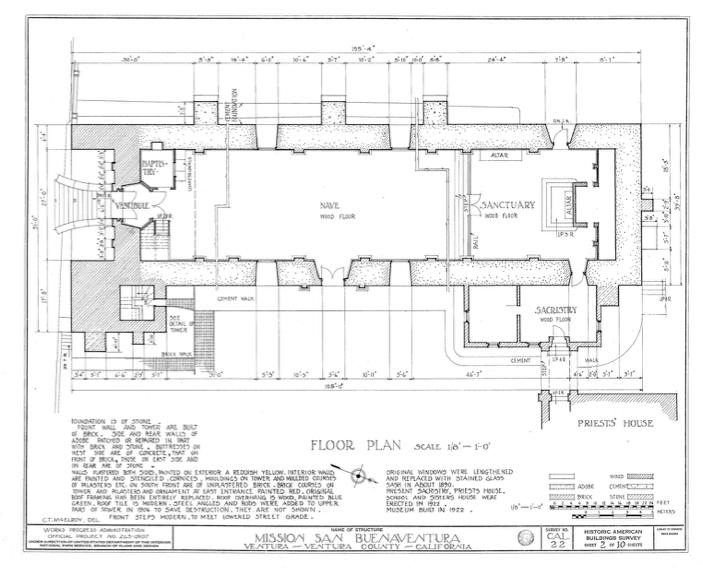 Floorplan image of the Mission San Buenaventura