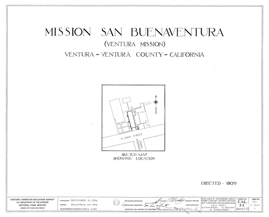 Mission San Buenaventura plan cover sheet